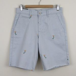 "Gap 10"" Shorts Embroidered Mermaids Flat Front"